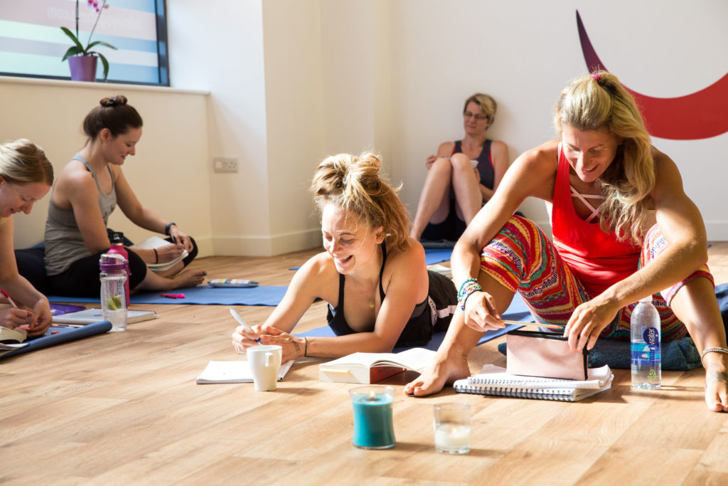 Sian on the right of this picture  during her Yogafurie Teacher Training