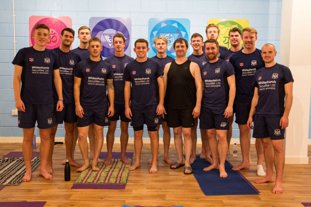 Gloucestershire Cricket Team photo with Yogafurie Lead Instructor Ed