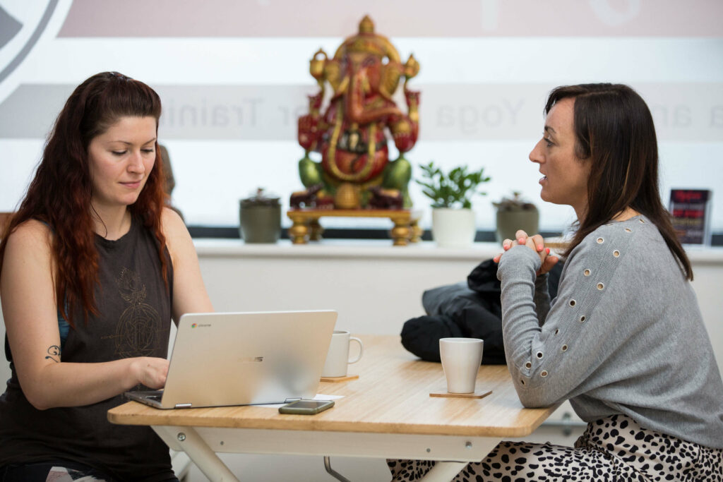 Laura speaking to Sinead about her experiences at Yogafurie
