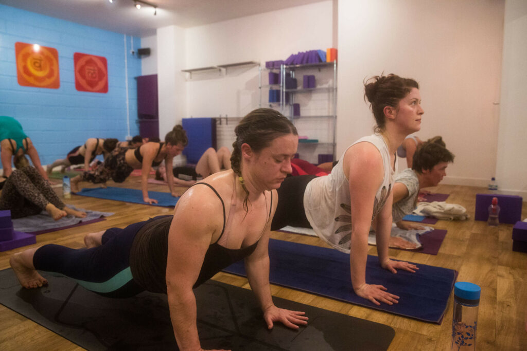 hot yoga students in a class working hard in upwards facing dog