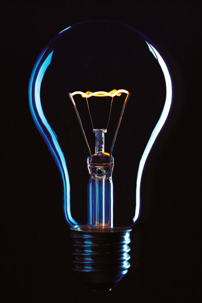 light bulb buzzing with chemical light energy