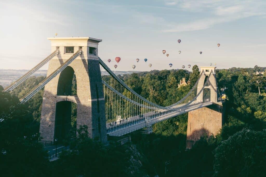 Clifton suspension Bridge with hot air balloons - Bristol