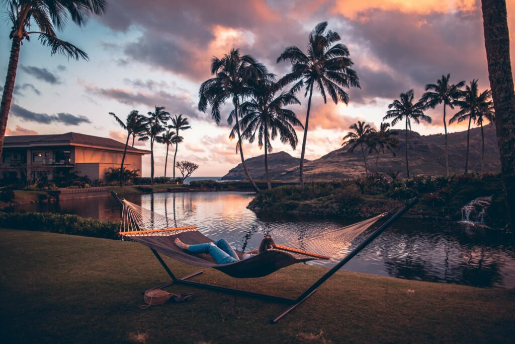 Lazing in a hammock with nature all around water palm trees and mountains