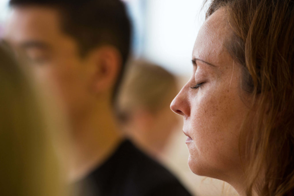 Calm meditation during a yoga class.