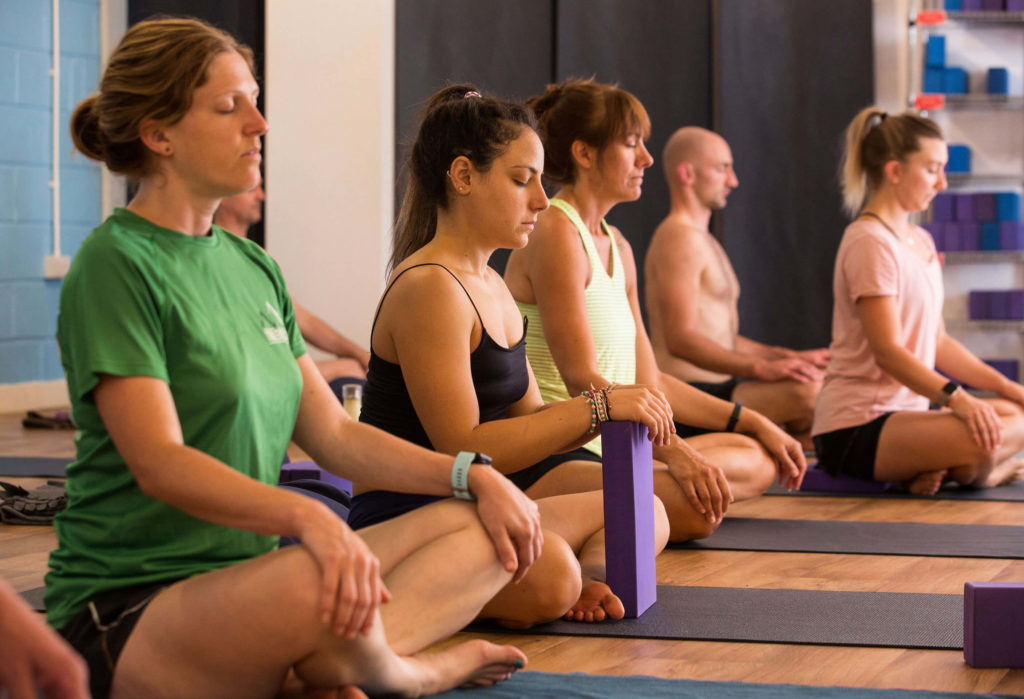 Students meditating on a teacher training course at Yogafurie