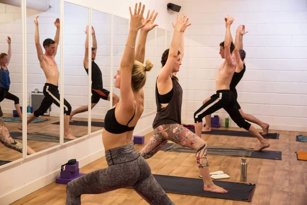 Hot yoga class led by teacher Sinead