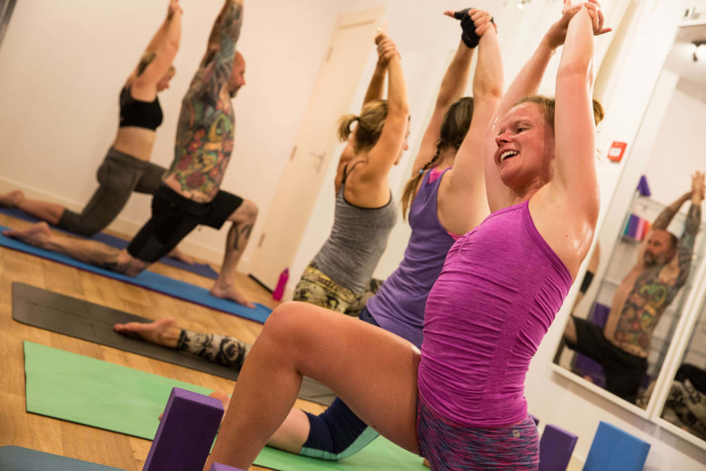 Hot yoga class at yogafurie