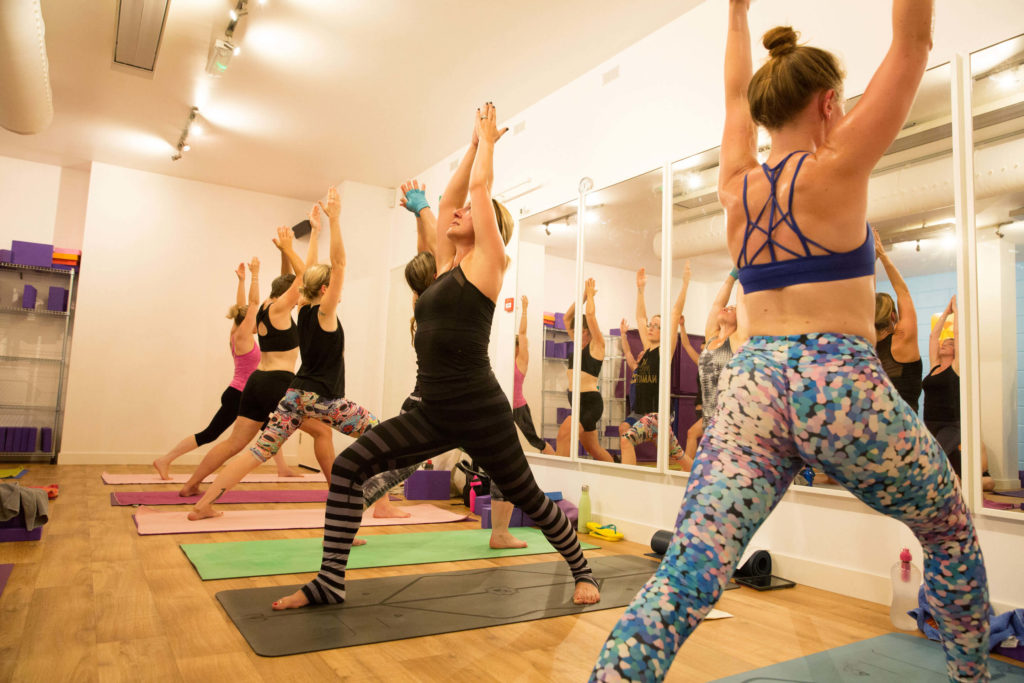 A hot yoga class at Yogafurie
