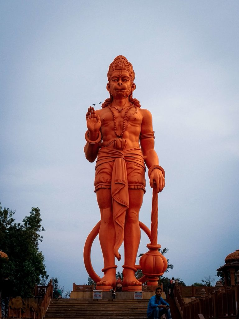 A standing statue of Hanuman