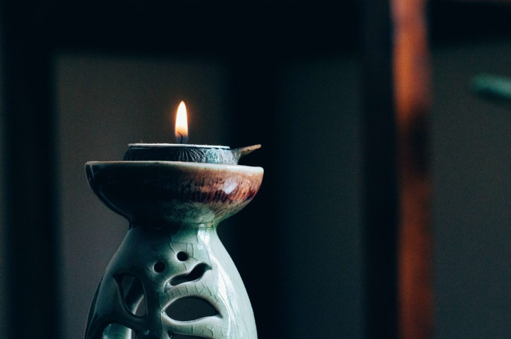 The practice of staring at an object such as a candle while meditating is called Trataka