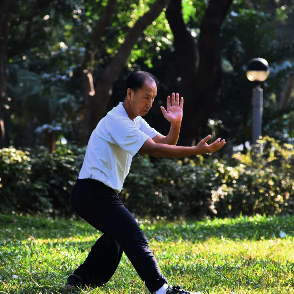 A man practices Tai Chi