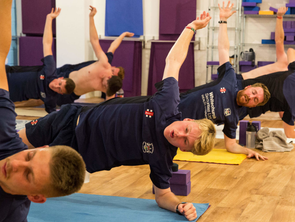 Gloucestershire Cricketers showing side plank on the elbow rather than the hand