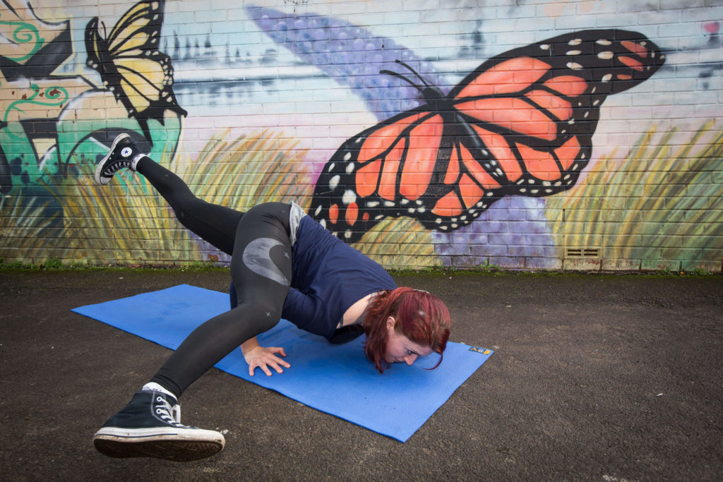 Sinead shows an inversion which is also an arm balance