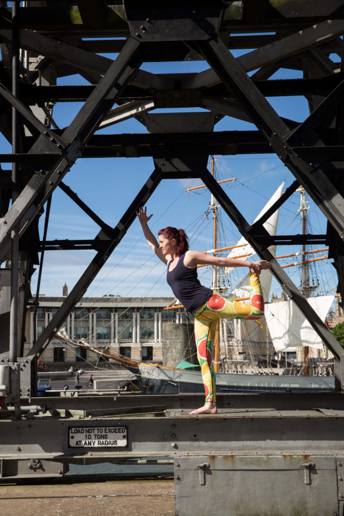 Sinead in Natarajasana at the docks.