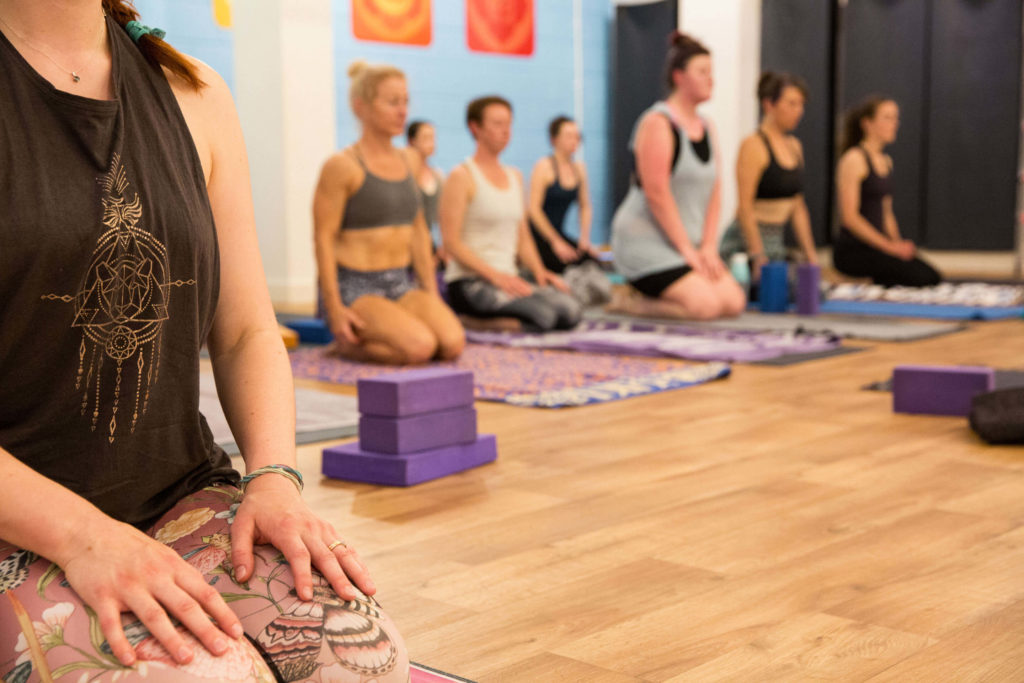 A breathing exercise during a Yogafurie class