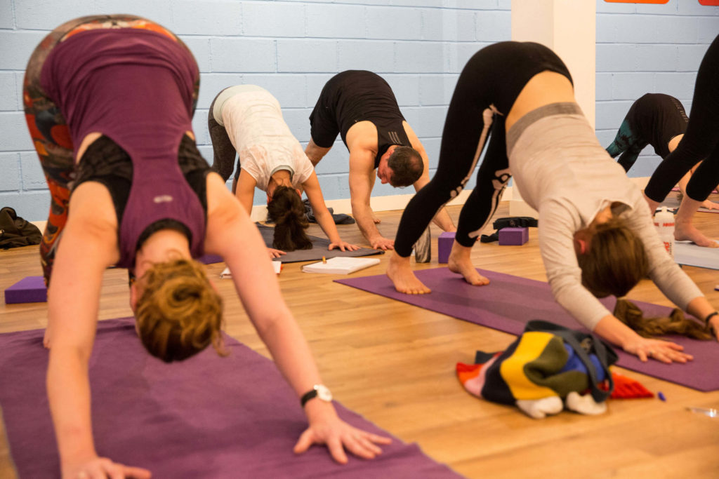 Yoga class in Downward Facing Dog (Step One).