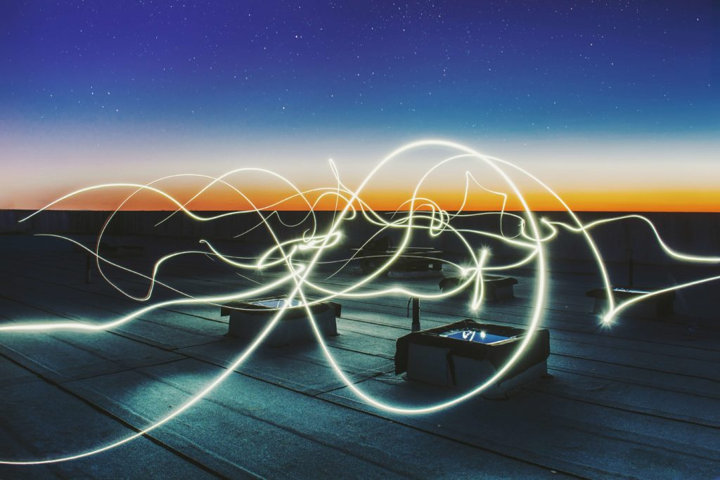 A representation of energy passing as light