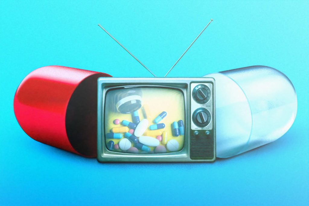 A pill which when broken in two reveals an image of a television also showing pills