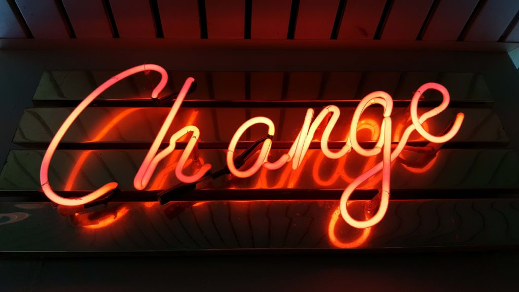 Neon sign showing the word change