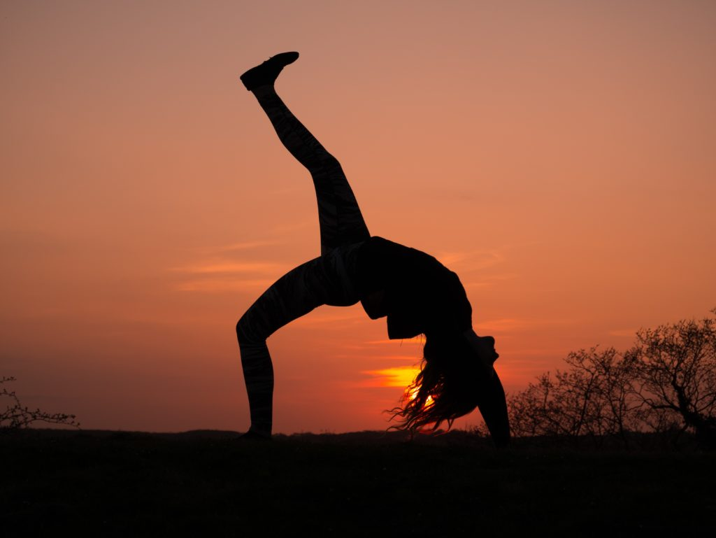 Yoga at sunset.