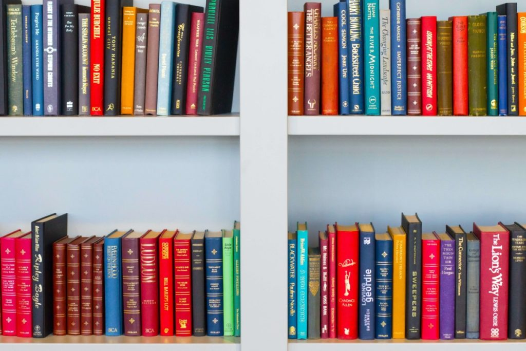Series of book shelves. Photo by Nick Fewings on Unsplash