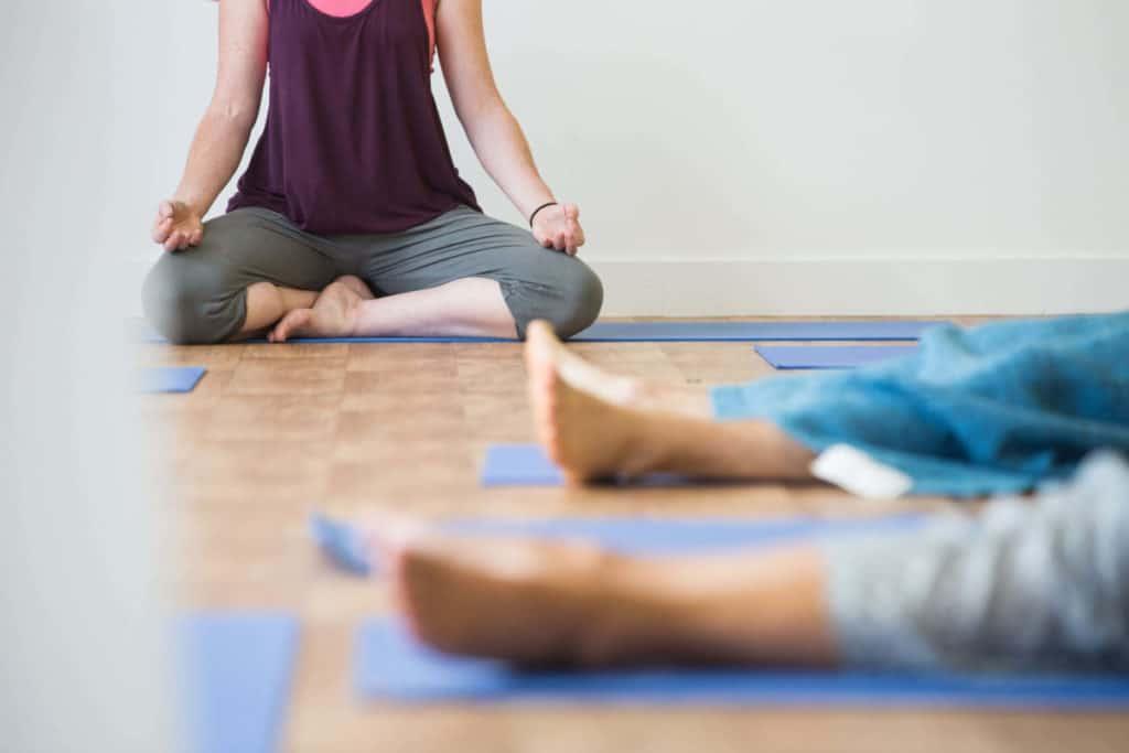 Teacher trainees meditating.
