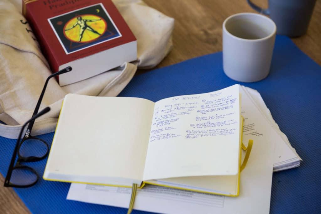 Yoga book club, a book of notes and the Hatha Yoga Pradipika