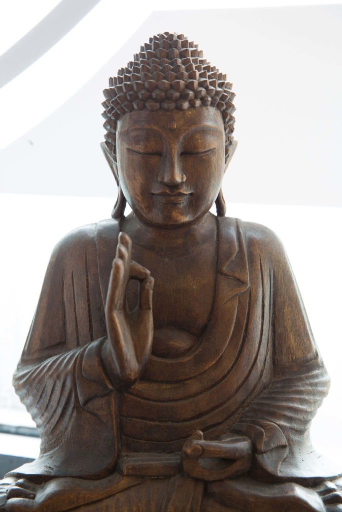 Buddha sitting peacefully. Yogafurie supports reforestation.