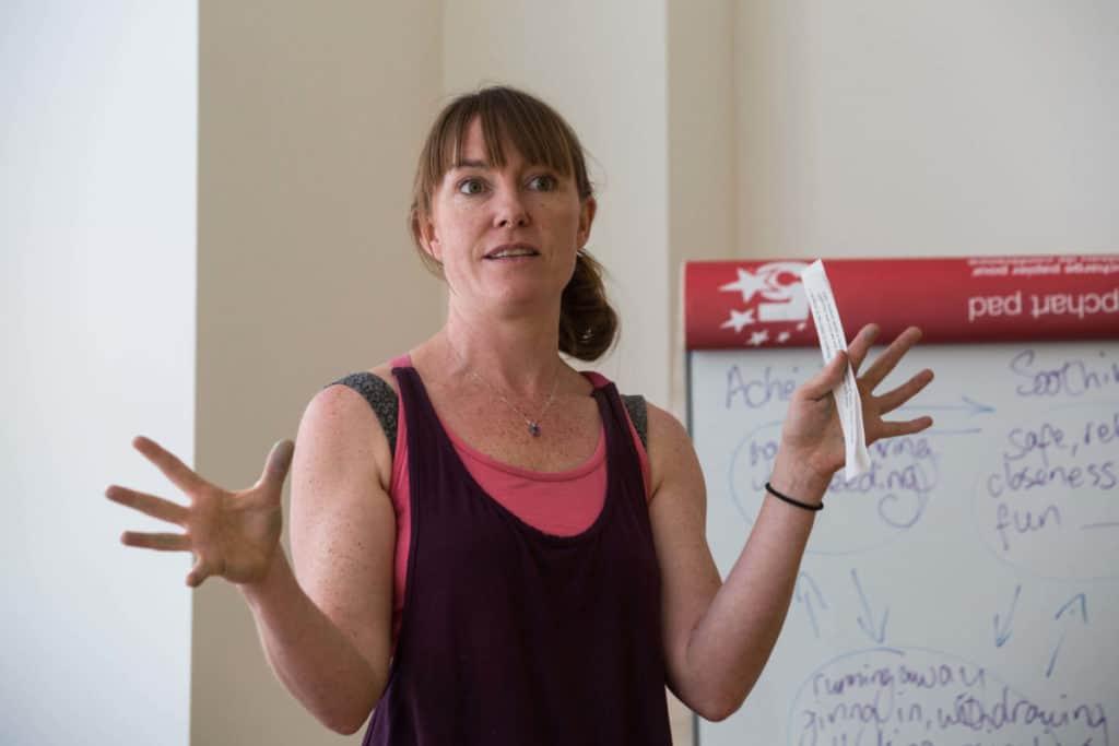 Morven delivering our yoga for cancer teacher training course
