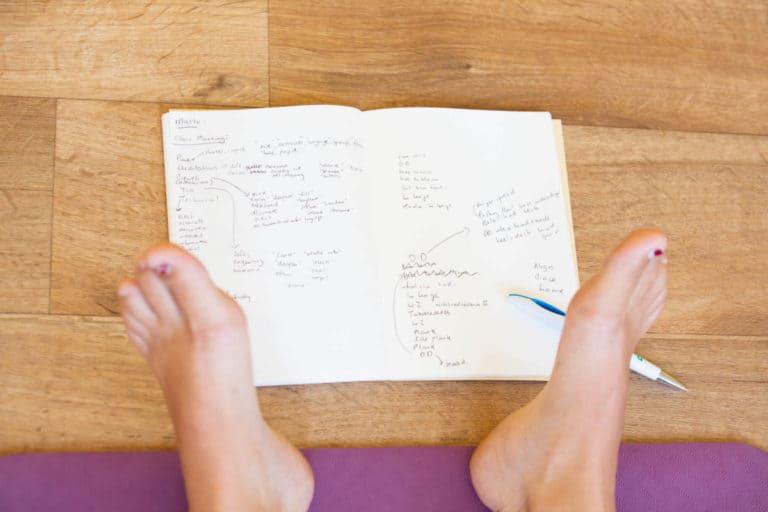 Notebook from yoga teacher training in bristol