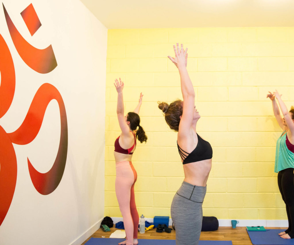 Lou teaching on her yoga Teacher Training course in Bristol