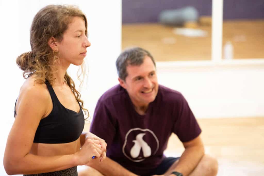 Lou learning on Yoga Teacher Training in Bristol