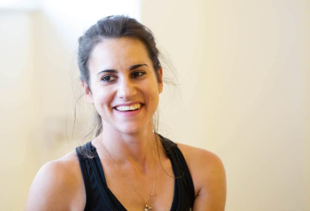 yoga book club, woman laughing