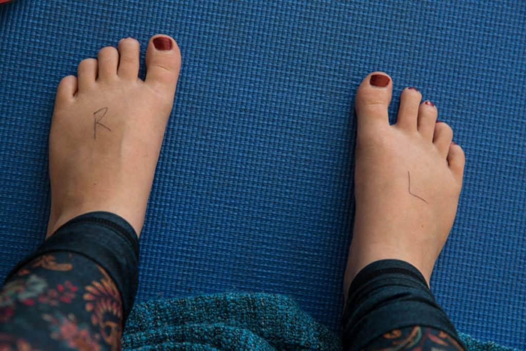 feet labelled to help with teacher training. understanding yoga better