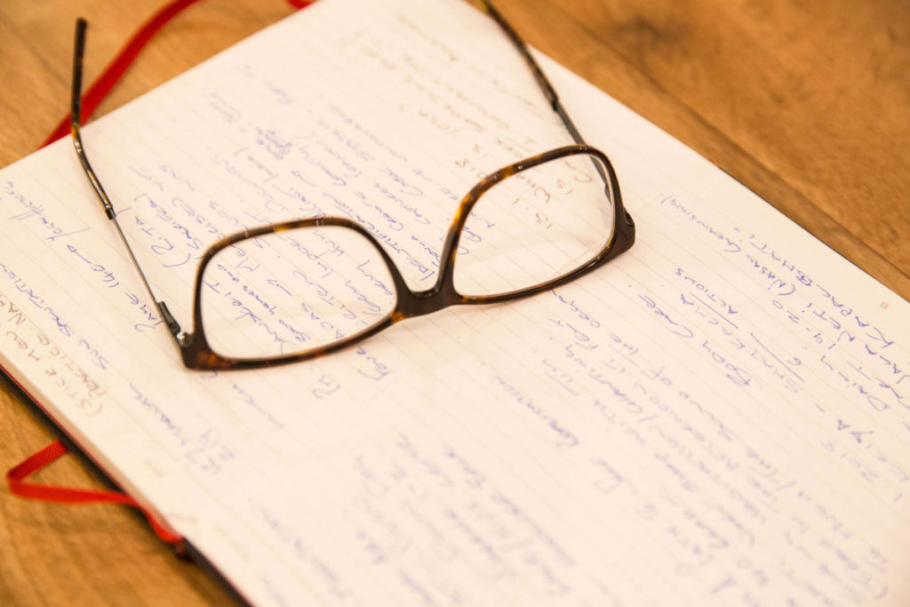 glasses and notepad, yoga had a signific impact in James' life