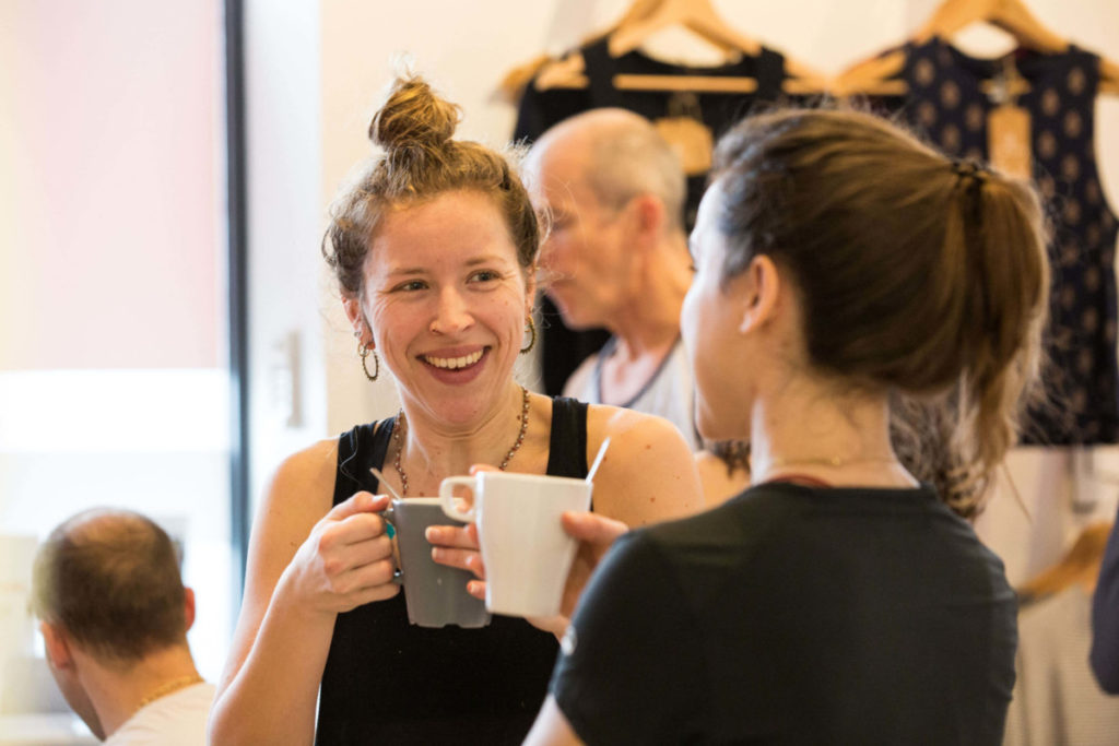 ladies talking, yogafurie inclusive, professional, engaging and enjoyable classes