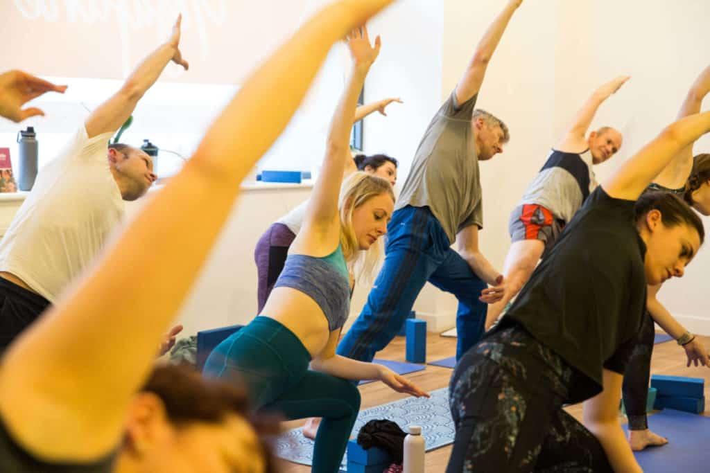 Ella enjoys a pose in a yoga class in bristol