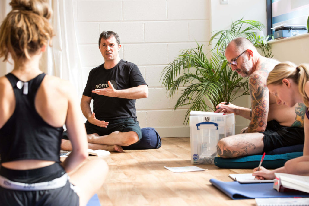 Ed teaching about respiration, pranayama and the diaphragm at Yoga Teacher Training in Bristol